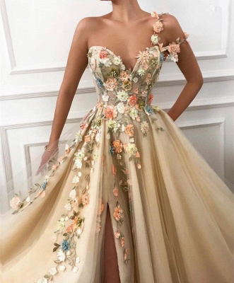 Gorgeous One Shoulder 2020 Prom Dress | Slit Tulle Flowers Evening Gowns_3