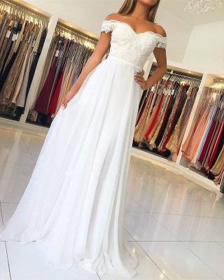 Elegant Off-the-Shoulder Long Evening Gowns | Lace Appliques Prom Dress With Zipper Button Back BC1141_1