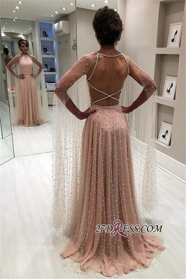 Pink Sheer-Tulle Backless A-Line Prom Gown | Elegant Beading Long Sleeves Prom Dress_2