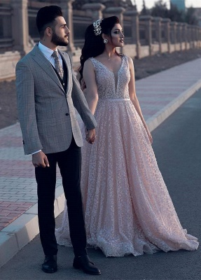 Newest Pink Lace A-line Straps Evening Dress   Sleeveless Evening Gown_4