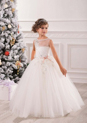 Lovely Princess Sleeveless Puffy Tulle Flower Girl Dress_1