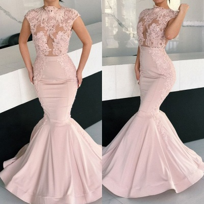 Gorgeous Cap Sleeve Pink Evening Dresses | 2020 Mermaid Lace Prom Dress BC1725_4