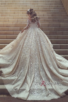 Tulle Crystal Long-Sleeves Gorgeous Appliques Wedding Dress BA6989_4
