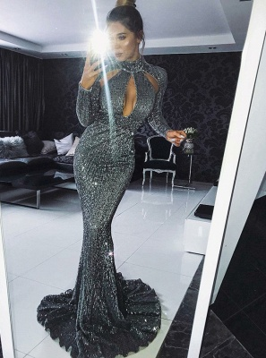 Gorgeous Long Sleeve Sequins Evening Dress | 2020 Mermaid Long Prom Dress_2