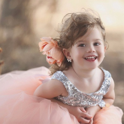 Lovely Tulle Sequined Flower Girl Pageant Dress 2020 Jewel Sleeveless_4