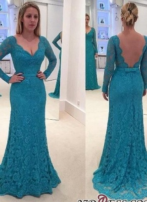 Mermaid Open-Back Long-Sleeves Lace V-Neck Prom Dresses_2