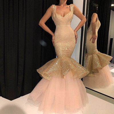 Glamorous Sweetheart Sequins Prom Dresses | 2020 Mermaid Ruffles Evening Gowns_2