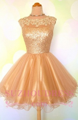 Gold Sequins Appliques Shiny Short Puffy Homecoming Dresses_1