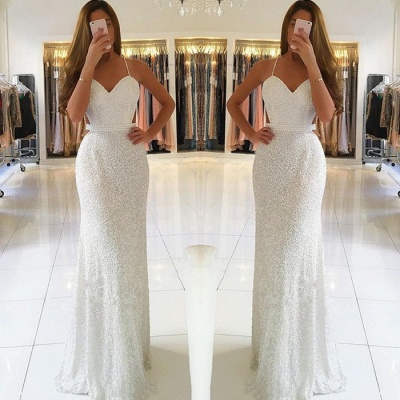 Gorgeous Spaghetti-Straps White Prom Dresses | 2020 Long Beadings Evening Gowns On Sale BC0476_2