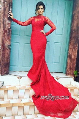 Mermaid High-Neck Long-Train Appliques Red Long-Sleeves Lace Evening Dresses BA3865_2