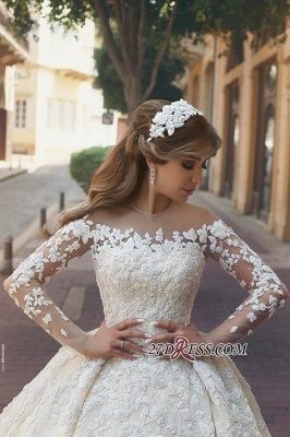 Tulle Crystal Long-Sleeves Gorgeous Appliques Wedding Dress BA6989_3