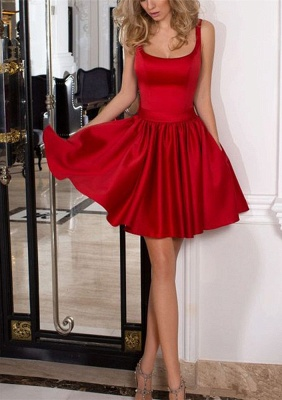 Newest Red Bow Square A-line Homecoming Dress | Short Fashion Party Gown BA9984_2
