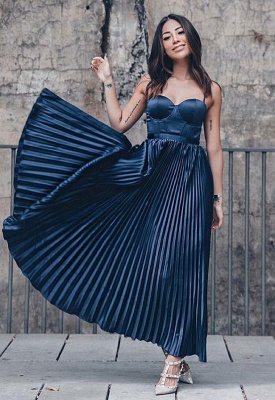 Simple A-Line Spaghetti Strap Sleeveless Prom Gown | 2020 Ruffles Evening Dress On Sale_1
