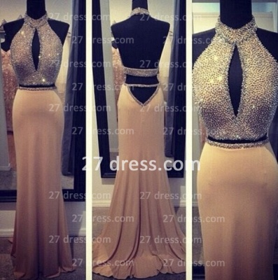 Stunning Backless Long evening dresses 2020 Halter Chiffon Beading Prom gown_2