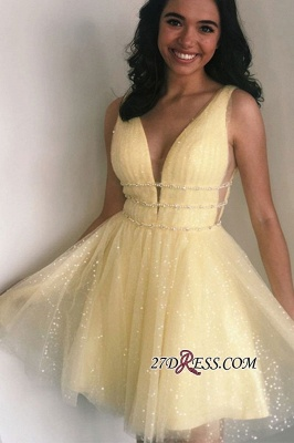 Short Glitter V-neck Strap A-line Beaded Homecoming Dresses_2