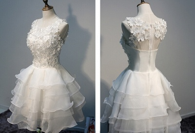 Layers Sleeveless Lace Hot White Short Organza Lace-Appliques Homecoming Dress_1