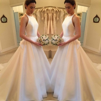 Gorgeous Sleeveless Halter Wedding Dress | 2020 Backless Bridal Gown_3