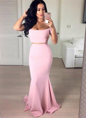 Stunning Off-the-shoulder Pink Prom Dress 2020 Two pieces Mermaid_1