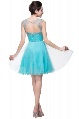 Luxurious Illusion Cap Sleeve Cocktail Dress Beadings Crystals Tulle Short Homecoming Gown CPS170_3