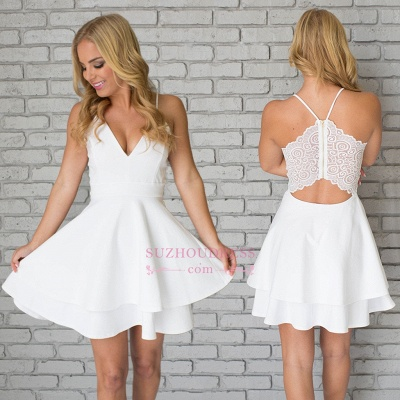 White Spaghetti-Strap Cute Lace Mini Sleeveless Homecoming Dress_1