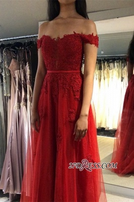 Floor-Length Attractive Appliques Belted Red A-line Off-the-shoulder Evening Dresses_2