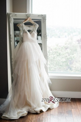 2020 A-line Beads Tulle Straps Cap-Sleeve Newest Wedding Dress_3