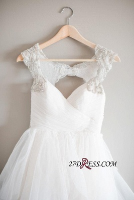 2020 A-line Beads Tulle Straps Cap-Sleeve Newest Wedding Dress_2