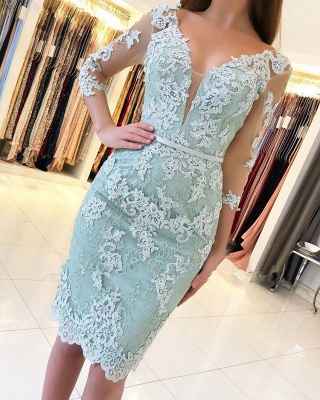 Glamorous V-Neck 3/4 Long Sleeves Short Prom Dress | Knee Length Lace Appliques Homecoming Dresses_1