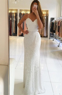 Gorgeous Spaghetti-Straps White Prom Dresses | 2020 Long Beadings Evening Gowns On Sale BC0476_1