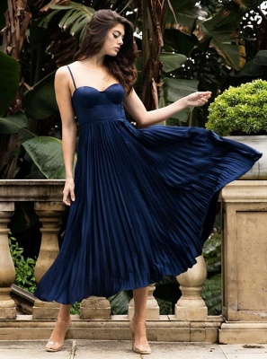 Simple A-Line Spaghetti Strap Sleeveless Prom Gown | 2020 Ruffles Evening Dress On Sale_2
