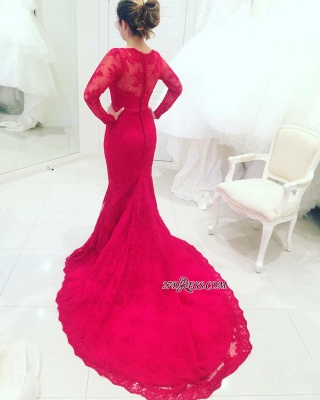 Mermaid High-Neck Long-Train Appliques Red Long-Sleeves Lace Evening Dresses BA3865_1