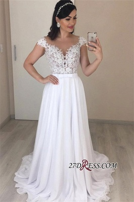 Appliques Excellent Lace A-line Cap-Sleeves Jewel Wedding Dresses