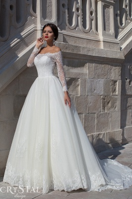Modern Off-the-shoulder Long Sleeve Wedding Dress With Lace_1