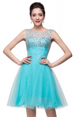 Luxurious Illusion Cap Sleeve Cocktail Dress Beadings Crystals Tulle Short Homecoming Gown CPS170_2