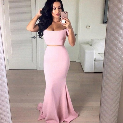 Stunning Off-the-shoulder Pink Prom Dress 2020 Two pieces Mermaid_3