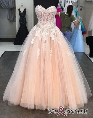 Lace Tulle Sweep-train Sweetheart-neck Pink Evening Dress_1