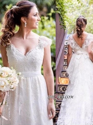 Lace Simple White Cap-sleeves A-line V-neck Bow Wedding Dress_1