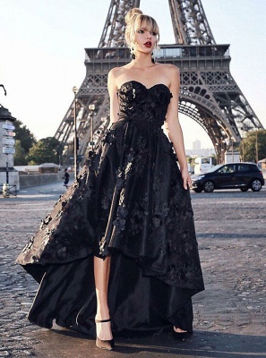 Stunning Black Sweetheart Sleeveless Zipper Prom Dress | Sexy Lace Appliques Asymmetrical Evening Gown_1