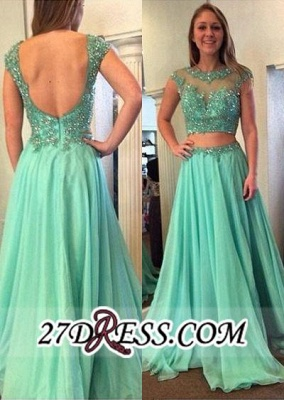 Beading Jewel A-line Long Gorgeous Two-Piece Cap-Sleeve Prom Dress_2