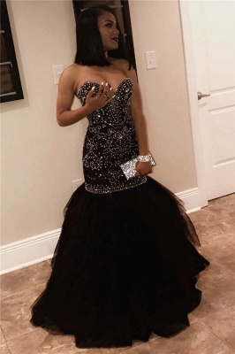 Sweetheart mermaid prom dress, long evening dress with beads BK0_1