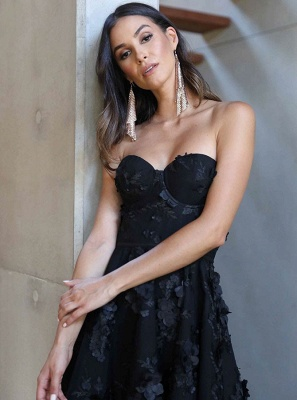 Stunning Black Sweetheart Sleeveless Zipper Prom Dress | Sexy Lace Appliques Asymmetrical Evening Gown_4