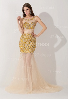 Sexy Crystals Illusion Mermaid Evening Dress Sweep Train_1