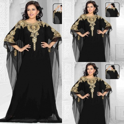 Elegant Black Lace Appliques Arabic Evening Dress 2020 Beadings Half Sleeve Jewel_3