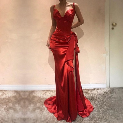 Elegant Sweetheart Red Evening Dress | 2020 Mermaid Prom Dress With Slit BC0505_2