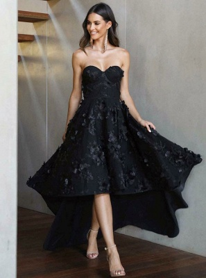 Stunning Black Sweetheart Sleeveless Zipper Prom Dress | Sexy Lace Appliques Asymmetrical Evening Gown_3