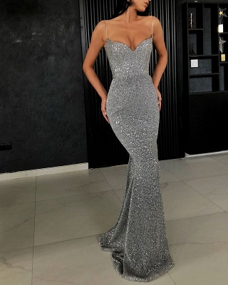 Sexy Spaghetti-Straps Sequins Prom Dress | 2020 Mermaid Long Evening Gowns BC0274_2
