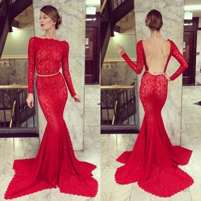 Backless Lace Mermaid Prom Dresses 2020 Bateau High Neck Long Sleeve Sheer Party Gowns with Court Train_2