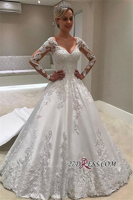 Elegant Long-Sleeves Ball-Gown Wedding Dress | 2020 V-Neck Appliques Bridal Gown_2