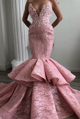 Stunning Sweetheart Mermaid Prom Dresses | 2020 Lace Ruffles Evening Gowns_1