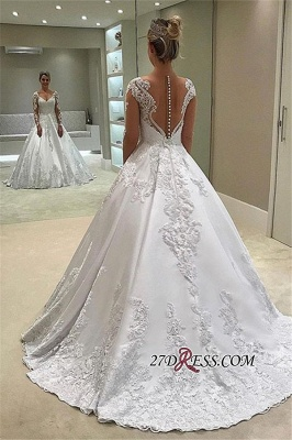 Elegant Long-Sleeves Ball-Gown Wedding Dress | 2020 V-Neck Appliques Bridal Gown_1